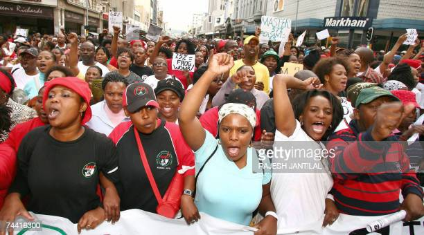 Thousands of South African civil servants including educators and nurses took to the streets during a protest march in Durban 06 June 2007 in one of...