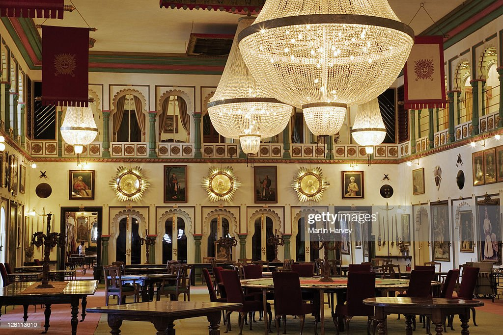 Durbar Hall of Audience in the Fadehprakash Palace. Part of the City Palace Complex, Udaipur, India. (PR: Property Released) : Stock Photo