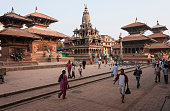 Durbar Square street scene with temples