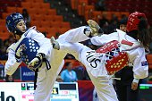 Durdane Altunel of Turkey competes with Catherine Risbey of Australia during the womens 57 kg qualifying match within the WTF World Taekwondo...