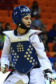 Durdane Altunel of Turkey is seen during the womens 57 kg qualifying match within the WTF World Taekwondo Championships 2015 at the Traktor Arena on...
