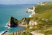 'Dorset coastline looking towards Durdle Door, the route of the South-West coastal path.'
