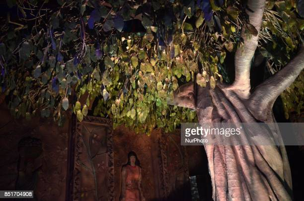 Durga Puja pandal or a temporary platforms features a money tree having the prints of banned Rs 500 and Rs 1000 notes in Kolkata India on Friday 22nd...