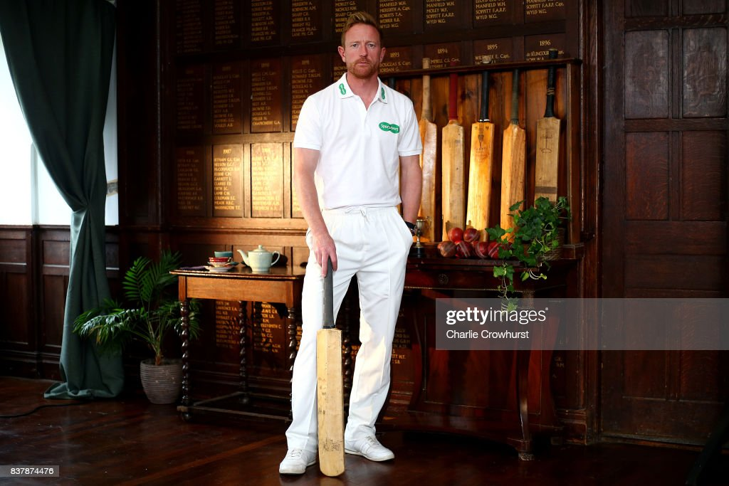 Durham all rounder Paul Collingwood poses for a photo during filming of the Specsavers advert The Umpires Strikes Back on August 23, 2017 in London, England.