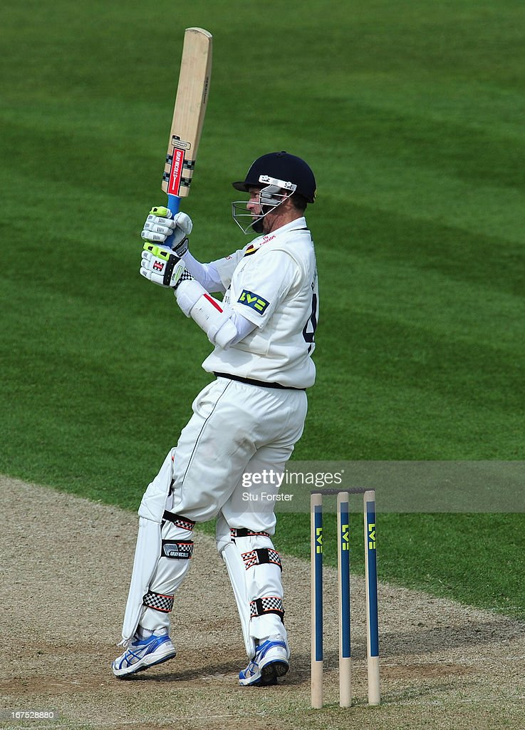 Durham batsman Dale Benkenstein picks up some runs during day three of the LV County Championship division One match between Durham and Yorkshire at The Riverside on April 26, 2013 in Chester-le-Street, England.
