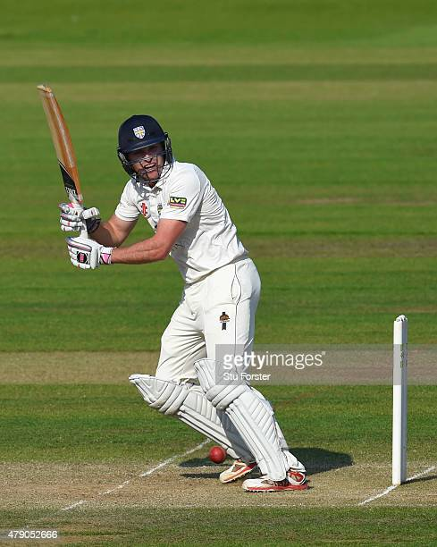 Durham batsman Gordon Muchall picks up some runs during day three of the LV County Championship Division One match between Durham and Yorkshire at...