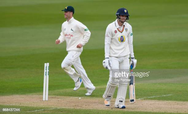 Durham batsman Jack Burnham leaves the crease after being dismissed during day one of the Specsavers County Championship Division Two match between...