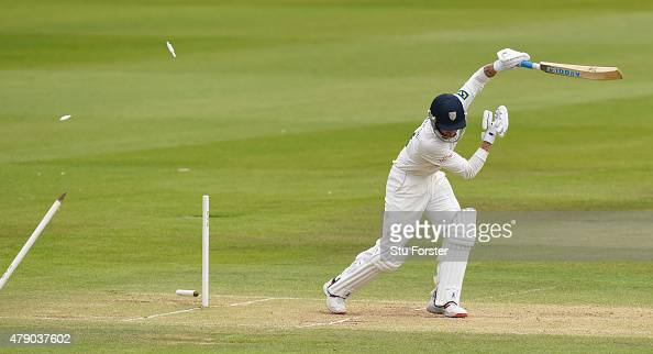 Durham batsman Jamie Harrison is bowled by Jack Brooks during day three of the LV County Championship Division One match between Durham and Yorkshire...