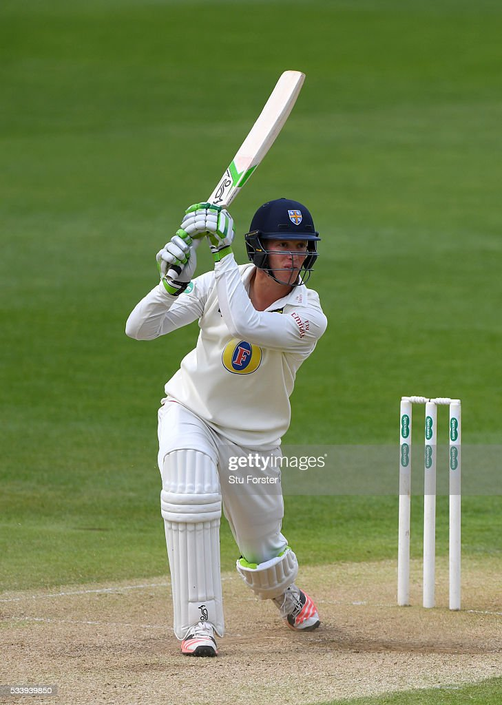 Durham batsman Keaton Jennings hits out during day three of the Specsavers County Championship Division One match between Warwickshire and Durham at Edgbaston on May 24, 2016 in Birmingham, United Kingdom.