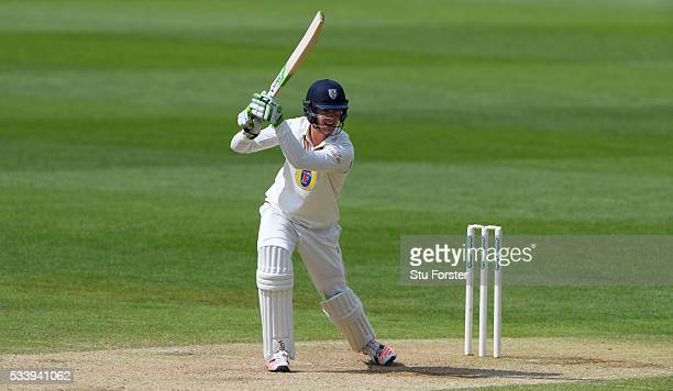 Durham batsman Keaton Jennings hits out during day three of the Specsavers County Championship Division One match between Warwickshire and Durham at...