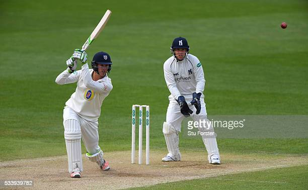 Durham batsman Keaton Jennings hits out watched by wicketkeeper Tim Ambrose during day three of the Specsavers County Championship Division One match...