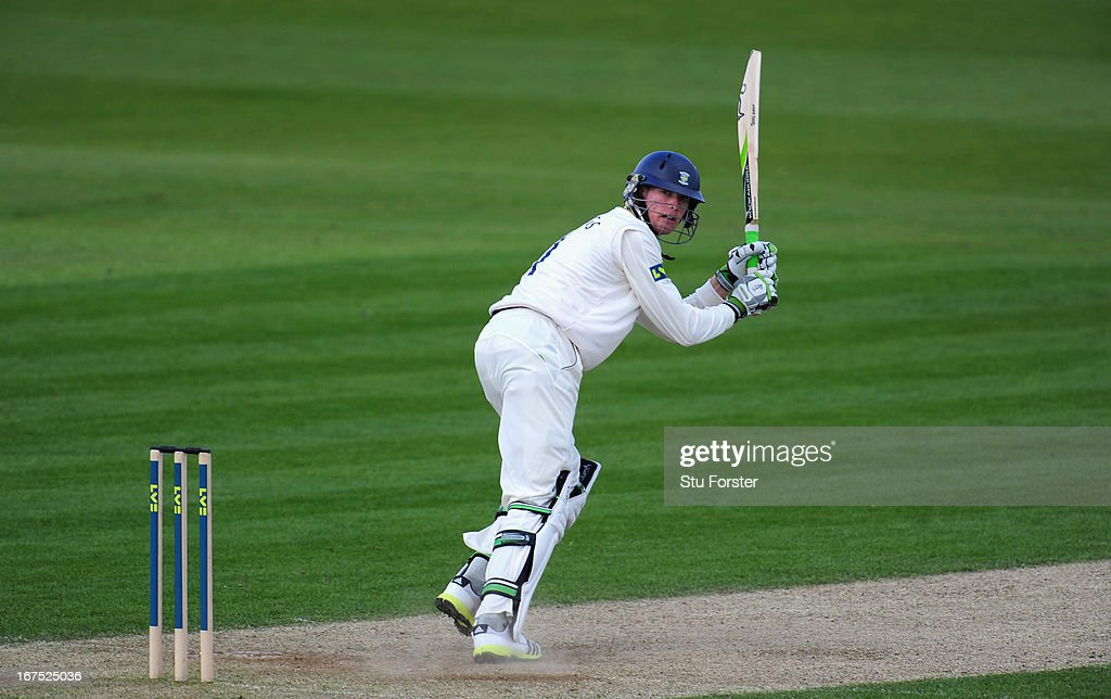 Durham batsman Keaton Jennings picks up some runs during day three of the LV County Championship division One match between Durham and Yorkshire at The Riverside on April 26, 2013 in Chester-le-Street, England.
