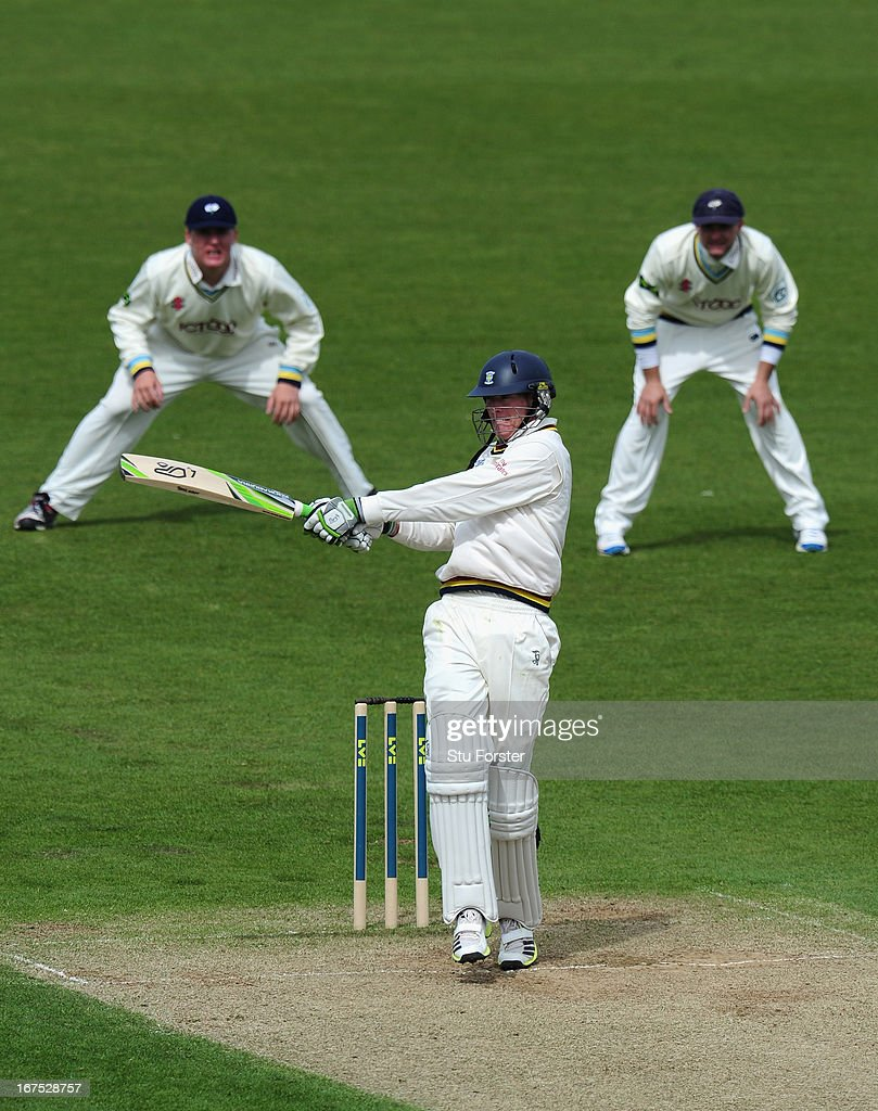 Durham batsman Keaton Jennings pulls a ball to the boundary during day three of the LV County Championship division One match between Durham and Yorkshire at The Riverside on April 26, 2013 in Chester-le-Street, England.