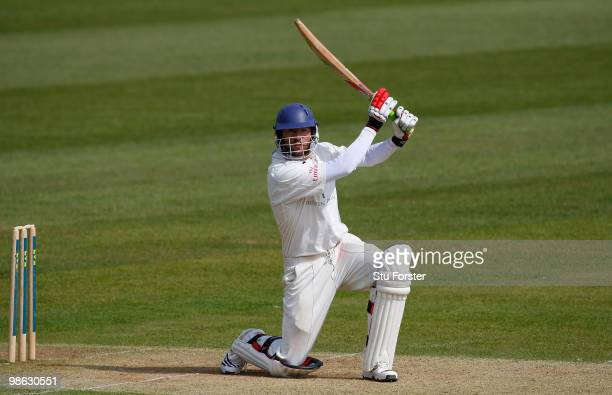 Durham batsman Liam Plunkett in action during day three of the LV County Championship division one match between Durham and Hampshire at The...