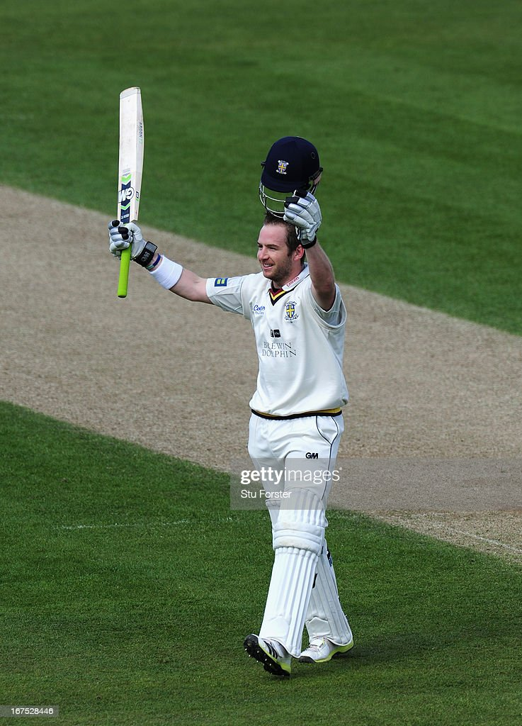 Durham batsman Mark Stoneman celebrates after reaching his century during day three of the LV County Championship division One match between Durham and Yorkshire at The Riverside on April 26, 2013 in Chester-le-Street, England.