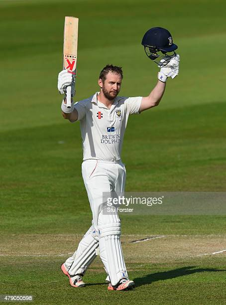 Durham batsman Mark Stoneman celebrates his century during day three of the LV County Championship Division One match between Durham and Yorkshire at...