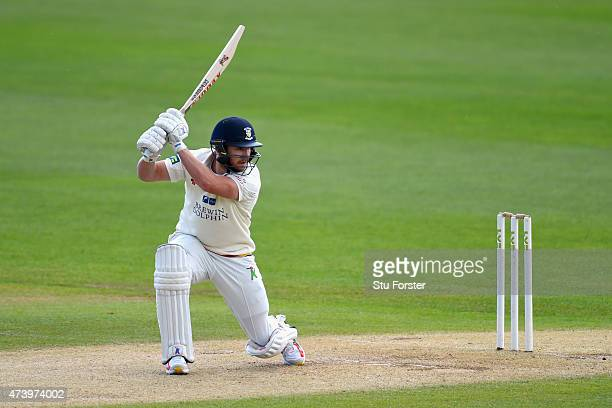Durham batsman Mark Stoneman cover drives for four runs during day three of the LV County Championship Division One match between Warwickshire and...