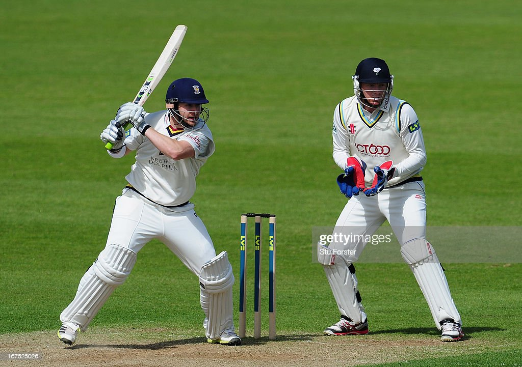 Durham batsman Mark Stoneman cuts a ball towards the boundary watched by Yorkshire wicketkeeper <a gi-track='captionPersonalityLinkClicked' href=/galleries/search?phrase=Jonathan+Bairstow&family=editorial&specificpeople=6893210 ng-click='$event.stopPropagation()'>Jonathan Bairstow</a> during day three of the LV County Championship division One match between Durham and Yorkshire at The Riverside on April 26, 2013 in Chester-le-Street, England.