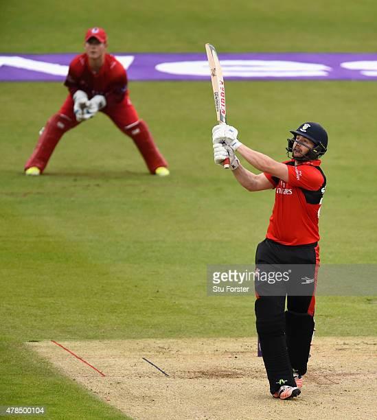 Durham batsman Mark Stoneman hits a six during the NatWest T20 blast between Durham Jets and Lancashire Lightning at Emirates Durham ICG on June 25...