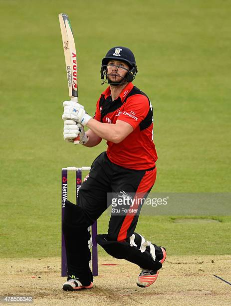 Durham batsman Mark Stoneman hits a six during the NatWest T20 blast between Durham Jets and Lancashire Lightning at Emirates Durham ICG on June 25...