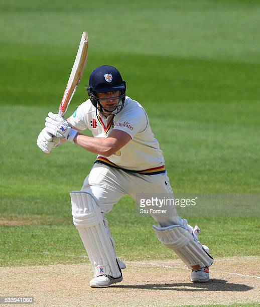 Durham batsman Mark Stoneman hits out during day three of the Specsavers County Championship Division One match between Warwickshire and Durham at...
