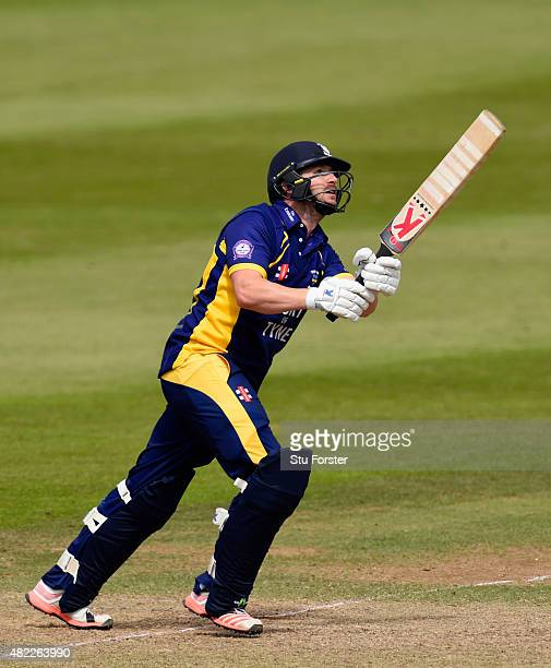Durham batsman Mark Stoneman hits out during the Royal London OneDay Cup match between Somerset and Durham at the County ground on July 28 2015 in...