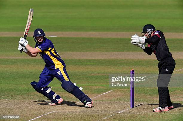 Durham batsman Mark Stoneman hits out watched by wicketkeeper Michael Bates during the Royal London OneDay Cup match between Somerset and Durham at...