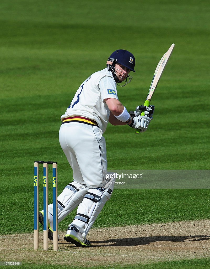Durham batsman Mark Stoneman picks up some runs during day three of the LV County Championship division One match between Durham and Yorkshire at The Riverside on April 26, 2013 in Chester-le-Street, England.