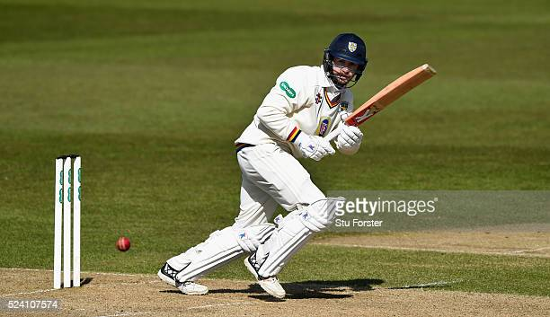 Durham batsman Mark Stoneman picks up some runs during his century during day two of the Specsavers County Championship Division One match between...