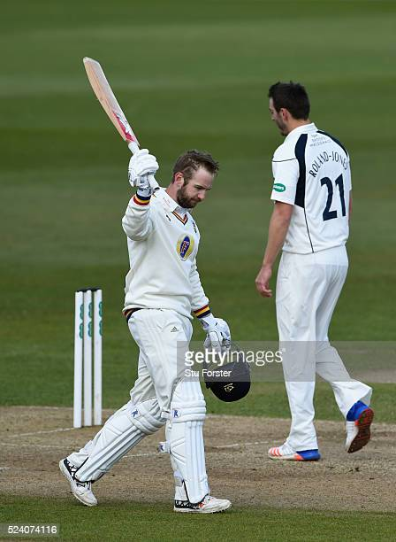 Durham batsman Mark Stoneman reaches his century during day two of the Specsavers County Championship Division One match between Durham and Middlesex...