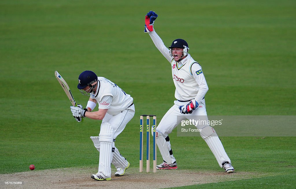 Durham batsman Mark Stoneman survives an appeal by Yorkshire wicketkeeper <a gi-track='captionPersonalityLinkClicked' href=/galleries/search?phrase=Jonathan+Bairstow&family=editorial&specificpeople=6893210 ng-click='$event.stopPropagation()'>Jonathan Bairstow</a> during day three of the LV County Championship division One match between Durham and Yorkshire at The Riverside on April 26, 2013 in Chester-le-Street, England.