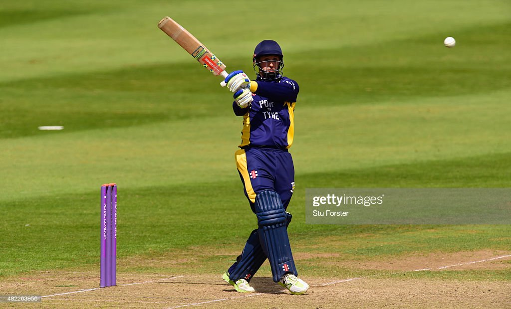 Durham batsman Phil Mustard hits out during the Royal London OneDay Cup match between Somerset and Durham at the County ground on July 28 2015 in...