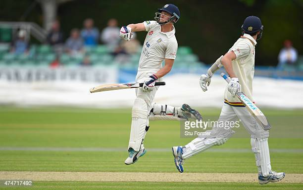 Durham batsman Scott Borthwick celebrates after reaching his century during day two of the LV County Championship division one match between...