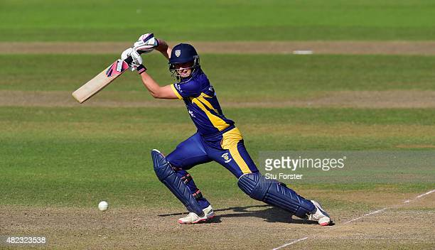 Durham batsman Scott Borthwick hits out during the Royal London OneDay Cup match between Somerset and Durham at the County ground on July 28 2015 in...
