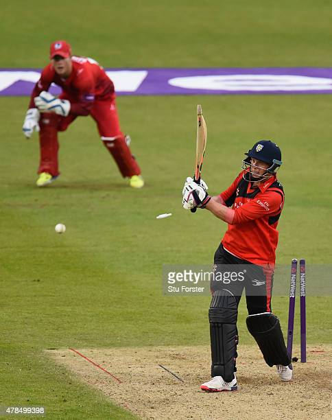 Durham batsman Scott Borthwick is bowled by Kyle Jarvis during the NatWest T20 blast between Durham Jets and Lancashire Lightning at Emirates Durham...