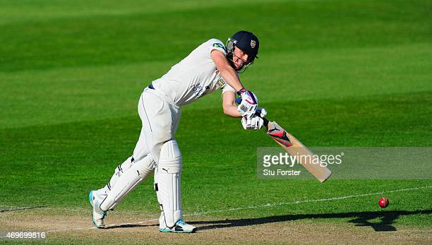 Durham batsman Scott Borthwick picks up some runs during day three of the LV County Championship match between Somerset and Durham at The County...