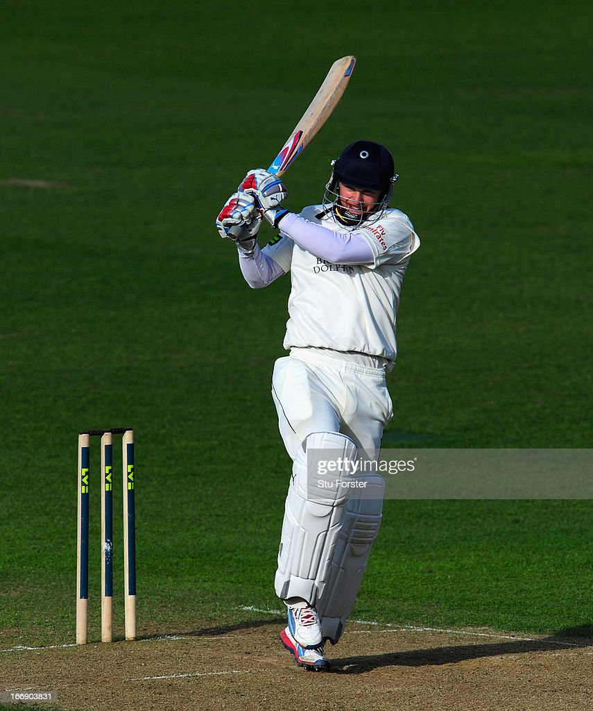 Durham batsman Scott Borthwick pulls a ball to the boundary during day two of the LV County Championship Division One game between Warwickshire and Durham at Edgbaston on April 18, 2013 in Birmingham, England.
