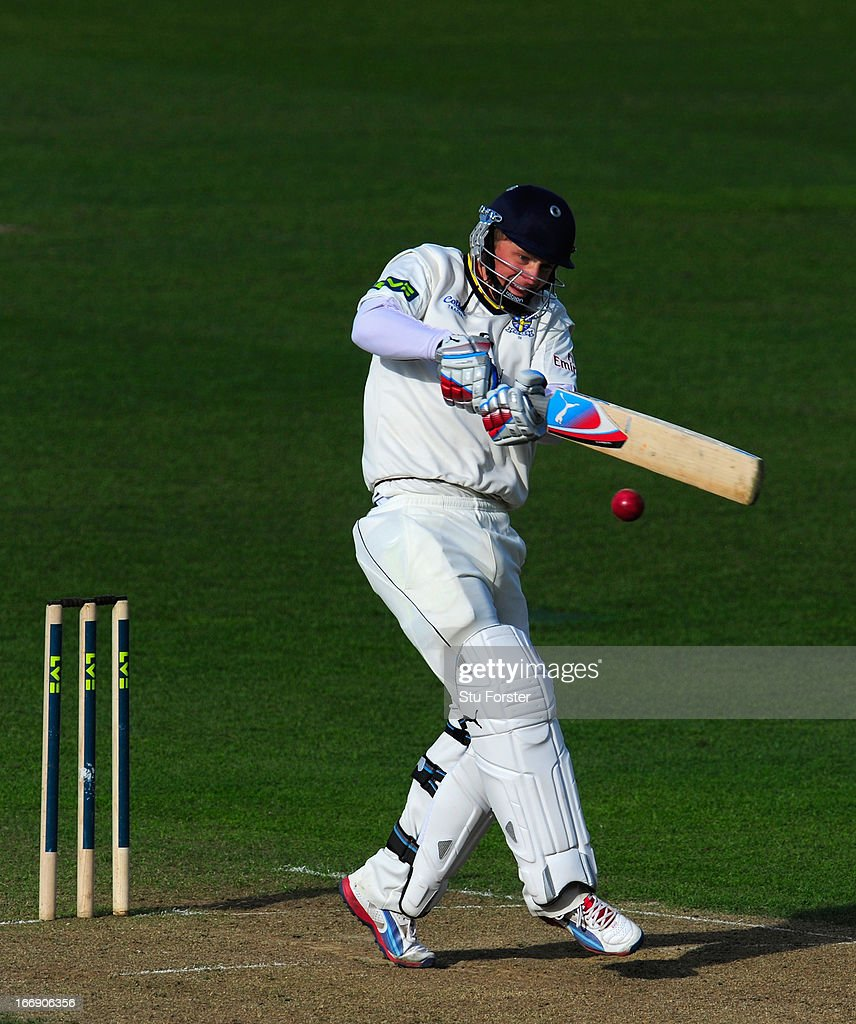 Durham batsman Scott Borthwick pulls a ball to the boundary during his century during day two of the LV County Championship Division One game between Warwickshire and Durham at Edgbaston on April 18, 2013 in Birmingham, England.
