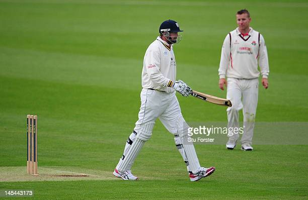 Durham batsman Steve Harmison leaves the field after being dismissed for 1 run as Durham are all out for just 102 in their first innings during day...