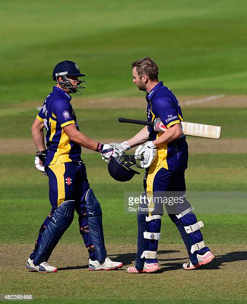 Durham batsmen Mark Stoneman is congratulated by Scott Borthwick after he had reached his century during the Royal London OneDay Cup match between...