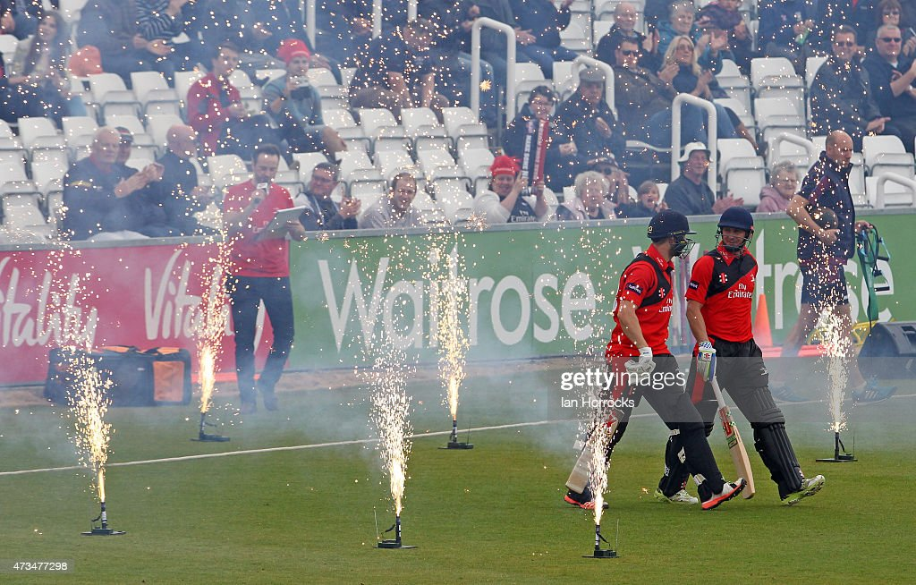 Durham batsmen Phil Mustard and Mark Stoneman walk out during the Natwest T20 Blast match between Durham Jets and Northamptonshire Steelbacks at The...