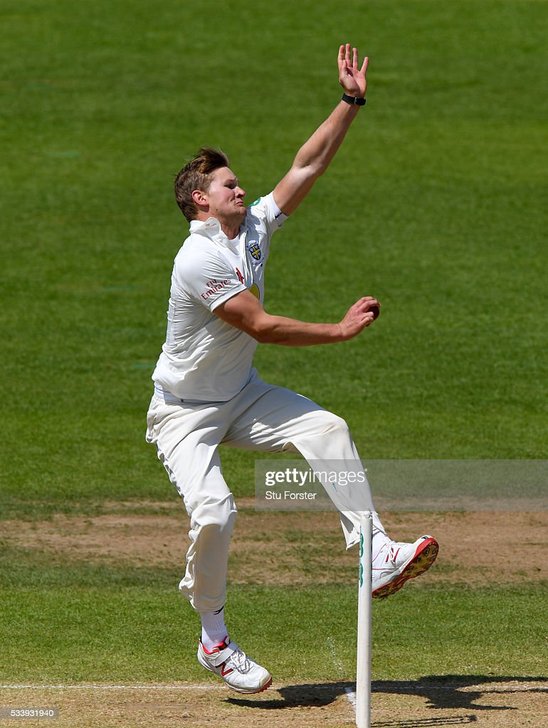 Durham bowler Barry McCarthy in action during day three of the Specsavers County Championship Division One match between Warwickshire and Durham at Edgbaston on May 24, 2016 in Birmingham, United Kingdom.