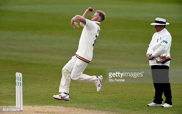 Durham bowler Ben Stokes bowls his first ball of the day during day one of the Specsavers County Championship Division One match between Durham and...