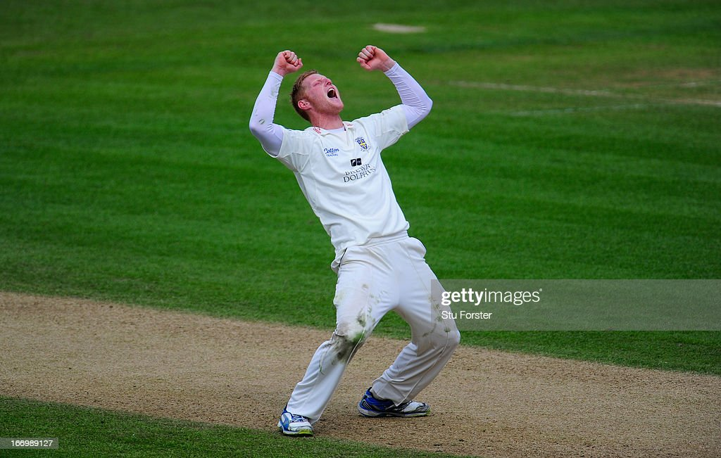 Durham bowler Ben Stokes celebrates after taking a wicket during day three of the LV County Championship Division One game between Warwickshire and Durham at Edgbaston on April 19, 2013 in Birmingham, England.