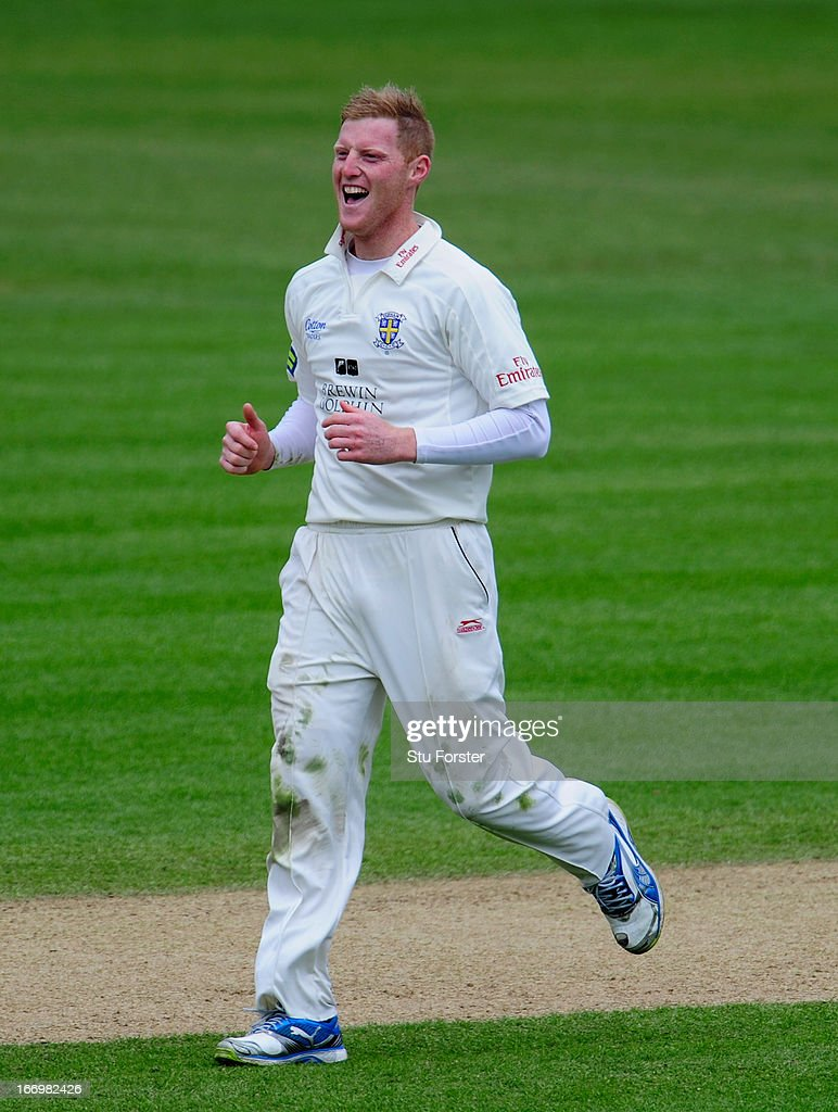 Durham bowler Ben Stokes celebrates after taking a wicket with his first ball of the day during day three of the LV County Championship Division One game between Warwickshire and Durham at Edgbaston on April 19, 2013 in Birmingham, England.