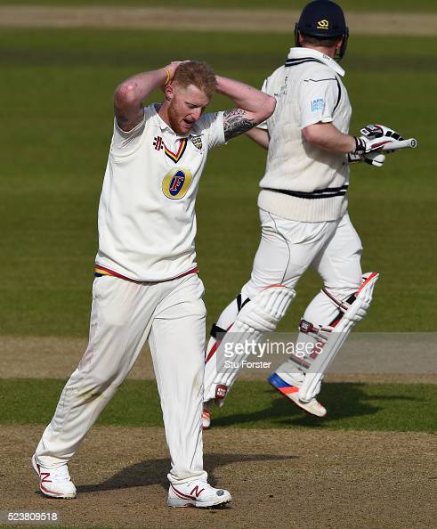 Durham bowler Ben Stokes reacts during day one of the Specsavers County Championship Division One match between Durham and Middlesex at Emirates...