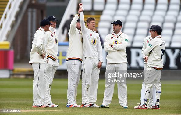Durham bowler Brydon Carse celebrates with the help of team mates after dismissing Sam Robson during day one of the Specsavers County Championship...