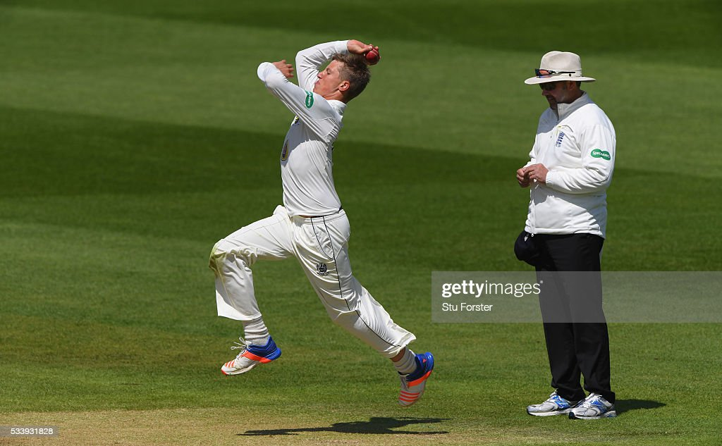 Durham bowler Brydon Carse in action during day three of the Specsavers County Championship Division One match between Warwickshire and Durham at Edgbaston on May 24, 2016 in Birmingham, United Kingdom.