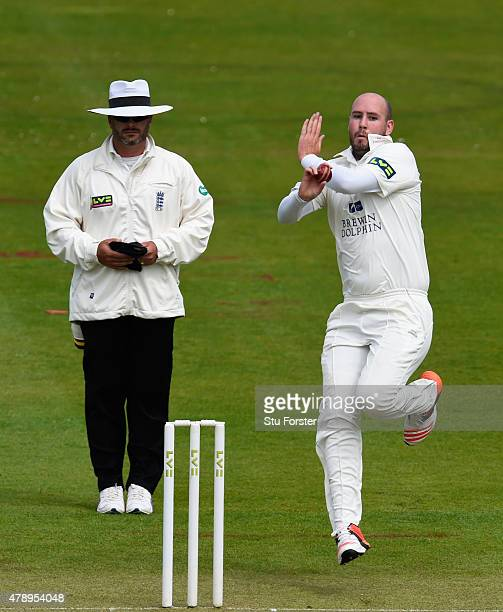 Durham bowler Chris Rushworth in action during day one of the LV County Championship Division One match between Durham and Yorkshire at Emirates...