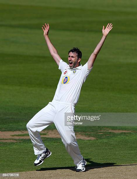 Durham bowler Graham Onions appeals for a wicket during day two of the Specsavers County Championship Division One match between Durham and...